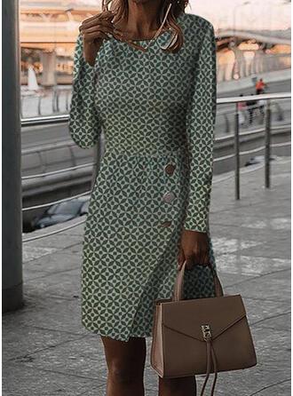 Print Long Sleeves Bodycon Knee Length Casual Pencil Dresses