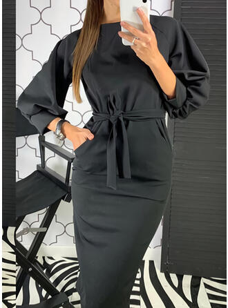 Solid Long Sleeves/Lantern Sleeve Bodycon Knee Length Little Black/Casual/Elegant Pencil Dresses