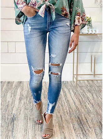 Ripped Gradient Cropped Sexy Skinny Denim & Jeans