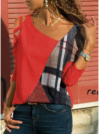 Print Color Block Cold Shoulder Long Sleeves Casual Blouses