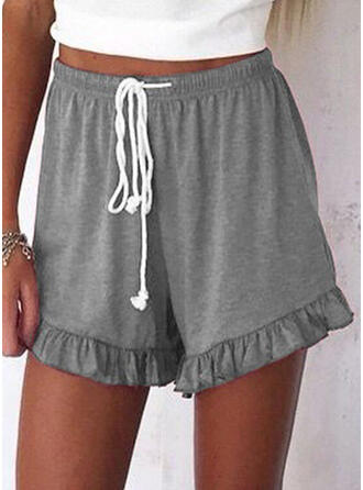 Shirred Plus Size Above Knee Casual Sporty Shorts