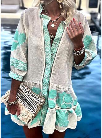 Print 3/4 Sleeves Shift Above Knee Casual/Boho/Vacation Tunic Dresses