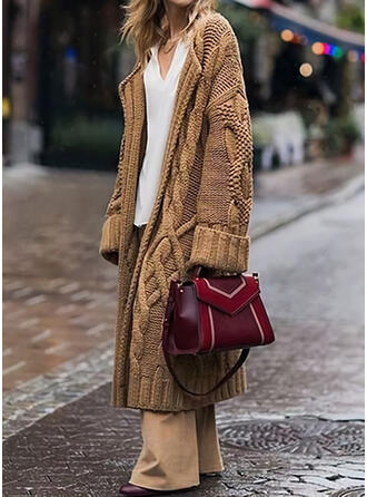 Solid Cable-knit Casual Long Cardigan