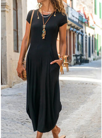 Solid Short Sleeves Shift Little Black/Casual/Elegant Midi Dresses