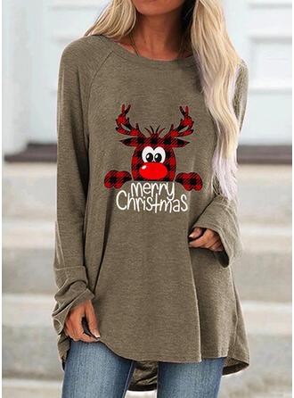 Animal Print Grid Figure Round Neck Long Sleeves Christmas Sweatshirt