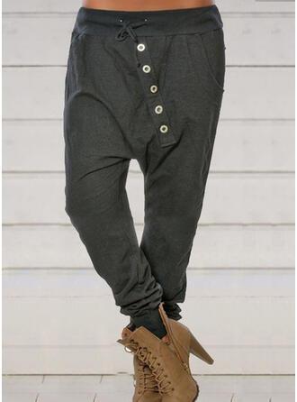Patchwork Plus Size Drawstring Long Casual Sporty Pants