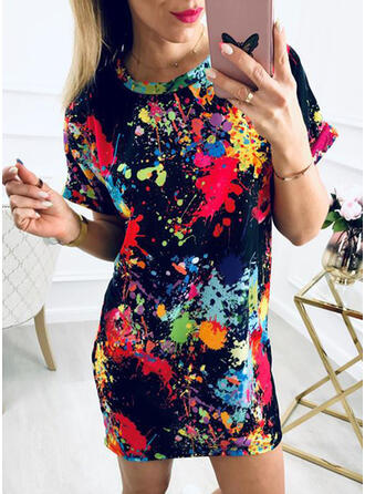 Tie Dye Short Sleeves Bodycon Above Knee Casual Dresses