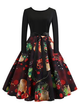 Print Long Sleeves A-line Knee Length Vintage/Christmas/Party Dresses