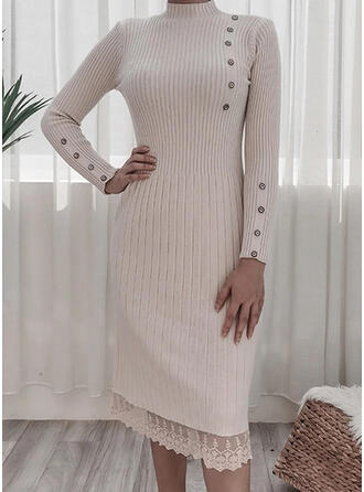 Lace/Solid Long Sleeves Sheath Sweater Casual Midi Dresses
