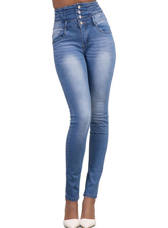 Solid Pockets Shirred Long Casual Elegant Sexy Plain Denim & Jeans