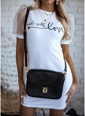 Print Short Sleeves/Puff Sleeves Bodycon Above Knee Casual Dresses