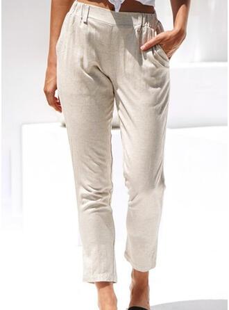 Pockets Shirred Long Casual Elegant Pants