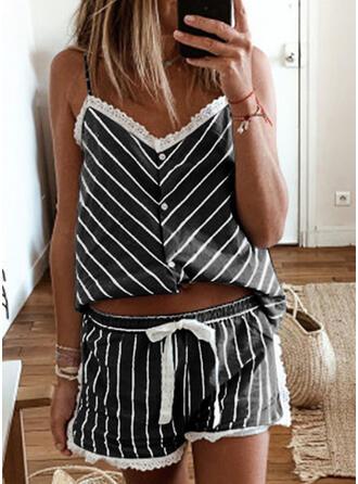Polyester Lace Striped Sleeveless V Neck Spaghetti Strap Cami Set