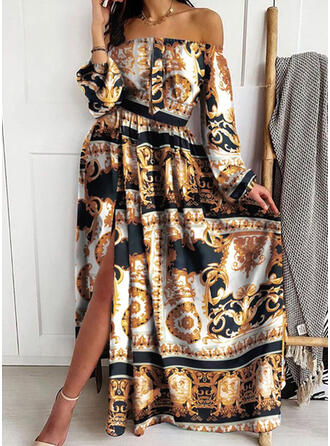 Print Long Sleeves A-line Vintage/Casual/Party/Boho/Vacation Maxi Dresses