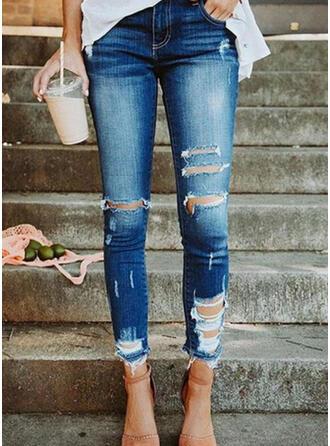 Ripped Tassel Cropped Sexy Skinny Denim & Jeans