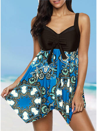 Push Up Geometric Strap V-Neck Sports Plus Size Casual Swimdresses Swimsuits