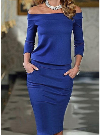 Solid 3/4 Sleeves Bodycon Sexy/Elegant Midi Dresses