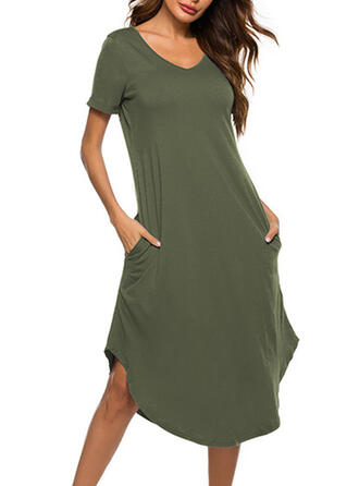Cotton Spandex Plain Plus Size Round Neck Sexy Short Sleeves Alluring Pyjama Set