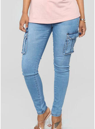 Pockets Shirred Plus Size Long Casual Sexy Denim & Jeans