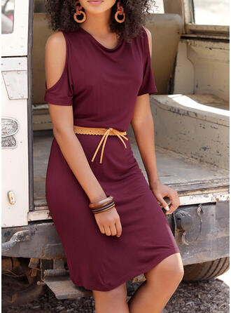 Solid Short Sleeves/Cold Shoulder Sleeve Sheath Knee Length Casual/Vacation Dresses