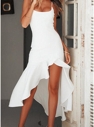 Solid Sleeveless Sheath Asymmetrical Little Black/Casual/Vacation Dresses