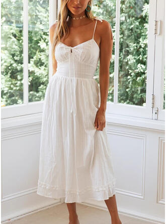Solid Sleeveless A-line Sexy/Party/Vacation Midi Dresses
