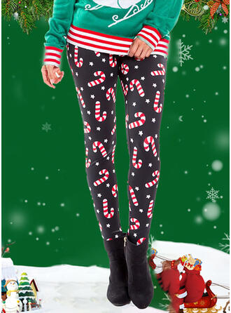 Print Christmas Casual Sexy Yoga Leggings
