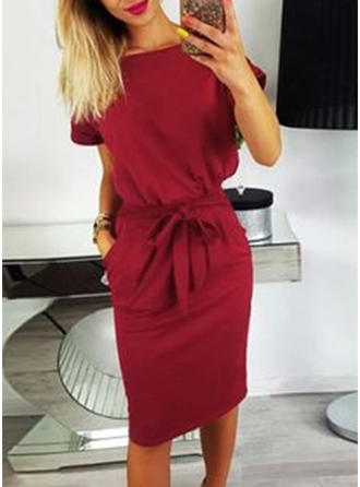Solid Short Sleeves Bodycon Knee Length Casual/Elegant Dresses
