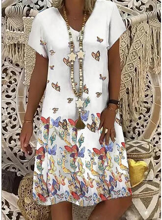 Animal Print Short Sleeves Shift Knee Length Casual Dresses