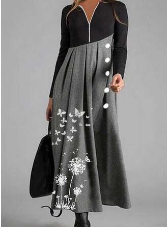 Animal Print Long Sleeves A-line Skater Casual Midi Dresses
