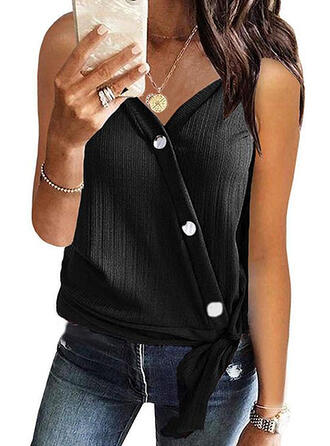 Solid V-Neck Sleeveless Button Up Casual Sexy Tank Tops