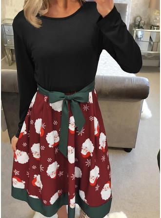 Print Long Sleeves A-line Knee Length Vintage/Christmas/Casual/Elegant Dresses