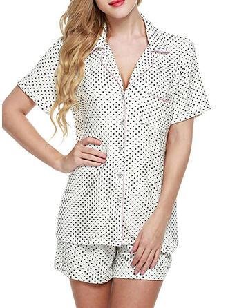 Polyester Plain PolkaDot Striped Plus Size Short Sleeves V Neck Pyjama Set
