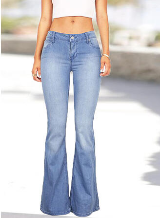 Pockets Plus Size Long Casual Sexy Denim & Jeans