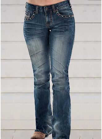 Shirred Plus Size Long Elegant Sexy Skinny Denim & Jeans