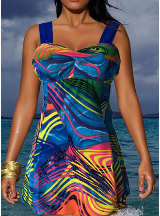 Stripe Splice color Strap U-Neck Eye-catching Casual Swimdresses Swimsuits