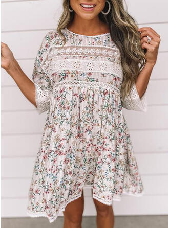 Lace/Print/Floral 3/4 Sleeves Shift Above Knee Casual/Vacation Dresses