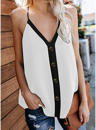 Color Block Spaghetti Strap Sleeveless Button Up Casual Sexy Tank Tops