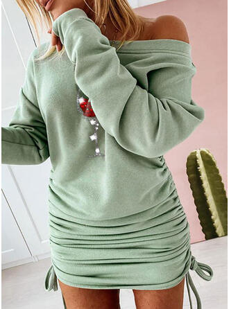 Sequins Long Sleeves Bodycon Above Knee Christmas/Casual Sweatshirt Dresses