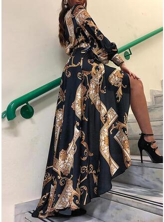 Print Long Sleeves A-line Vintage/Casual/Elegant Maxi Dresses