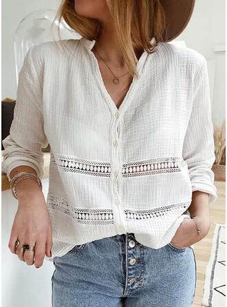 Solid V-Neck Long Sleeves Button Up Casual Elegant Knit Blouses
