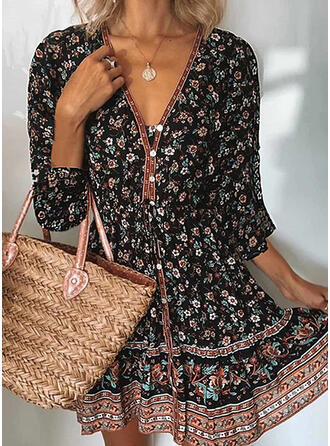 Print/Floral Long Sleeves A-line Above Knee Casual/Boho/Vacation Skater Dresses