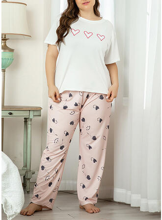 Polyester Print Plus Size Round Neck Cartoon Short Sleeves Pyjama Set