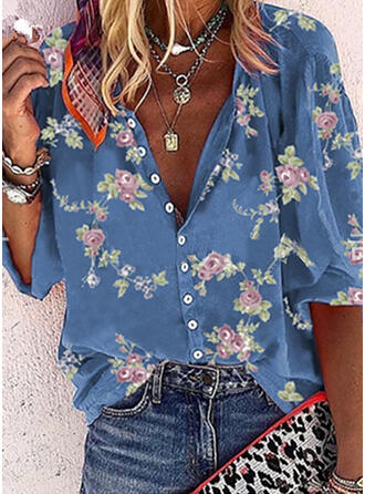 Print Floral V-Neck 3/4 Sleeves Button Up Shirt Blouses
