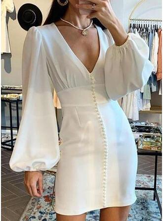 Solid Long Sleeves/Lantern Sleeve Sheath Above Knee Elegant Dresses
