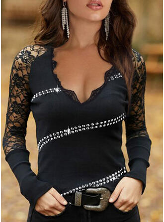 Solid Lace Sequins V-Neck Long Sleeves Casual Blouses