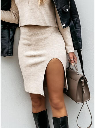 Cotton Blends Plain Above Knee Pencil Skirts High-Slit Skirts