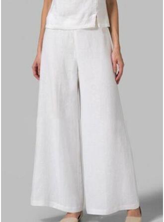 Shirred Plus Size Long Boho Casual Plain Pants