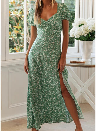 Print/Floral Short Sleeves A-line Sexy/Party/Vacation Maxi Dresses