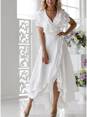 Solid Short Sleeves A-line Casual/Elegant Midi Dresses